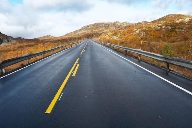Lege bergweg die in de verte verdwijnt op de bewolkte herfstdag