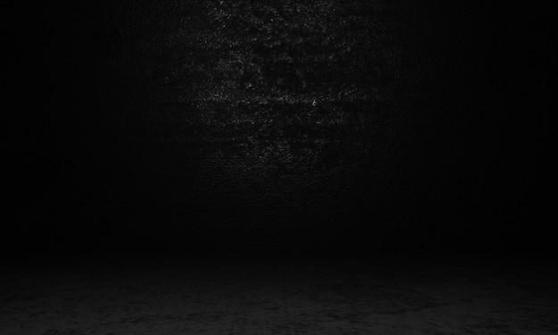 Lege betonnen kamer in donker licht omgeven muur achtergrond spotlight in het midden van cement kamer