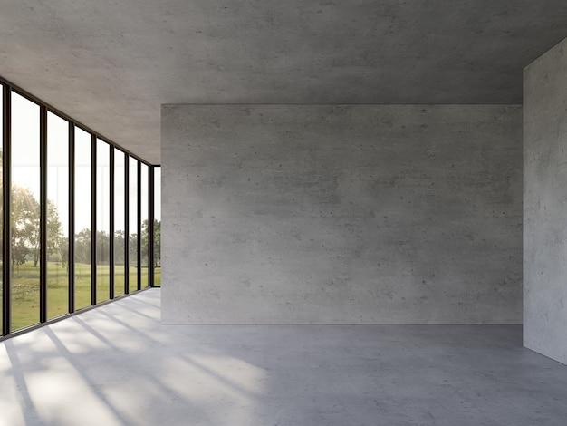Lege betonnen kamer met uitzicht op de natuur 3d render groot raam kijk uit om het uitzicht op de tuin te zien