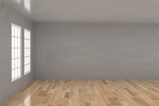 Lege betonnen ruimte in houten vloer met raam in 3d-rendering
