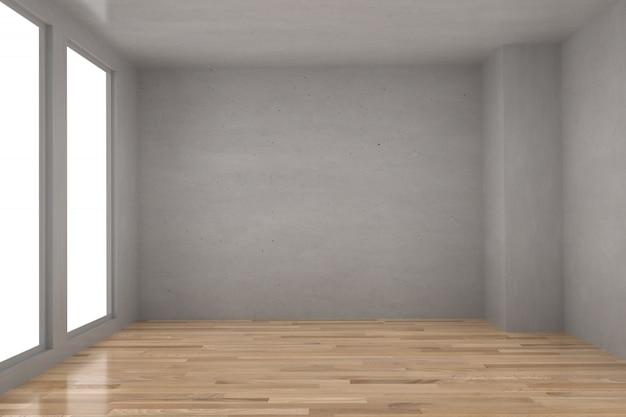 Lege betonnen ruimte in parket houten vloer met licht interieur in 3d-rendering