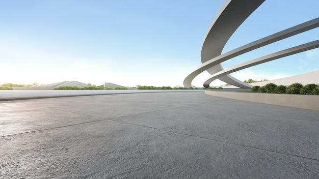 Lege betonnen vloer in stadspark. het 3d teruggeven van buitenruimte en toekomstige architectuur met blauwe hemel