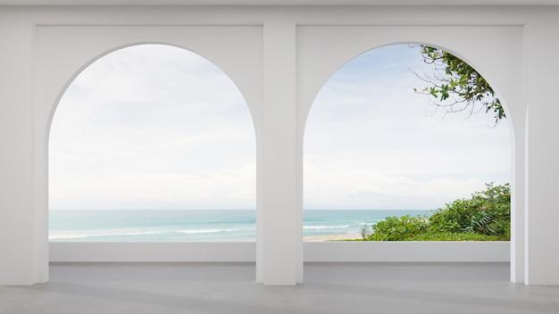 Lege betonnen vloer terras in modern huis.