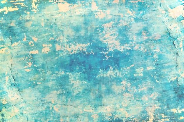 Lege blauwe de zeekleurenverf van de grunge concrete muur voor textuur. vintage achtergrond