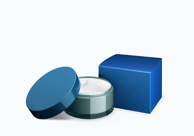 Lege blauwe hemel cosmetische pot mock up op witte achtergrond met uitstrijkje crème in vooraanzicht hoek, 3d illustratie