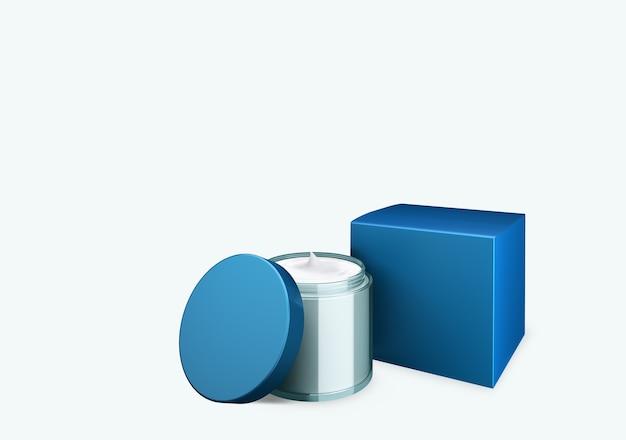 Lege blauwe hemel cosmetische pot mock up op witte achtergrond met uitstrijkje crème in vooraanzicht hoek, 3d illustratie Premium Foto
