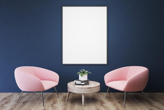 Lege blauwe kamer