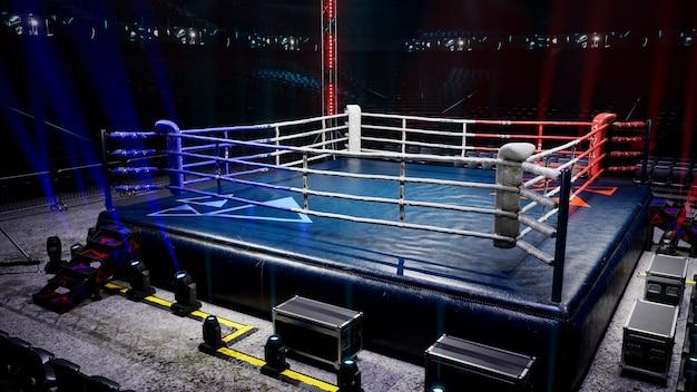 Lege boksarena wachten op nieuwe ronde d render illustratie