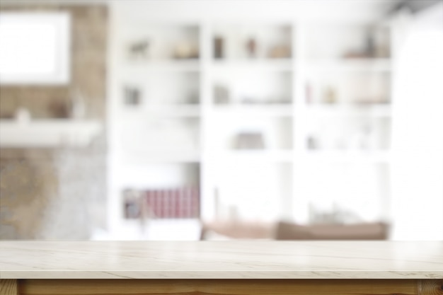 Lege bovenste marmeren houten tafel in de woonkamer