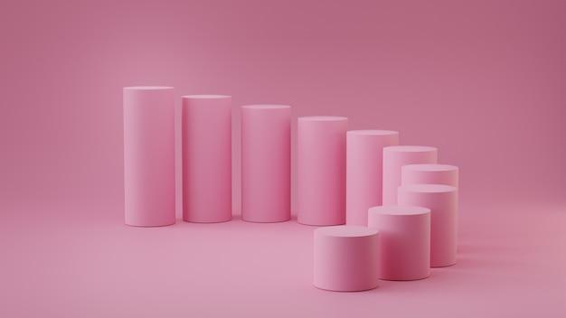 Lege cilinder van pastelkleur roze stappen op blauwe achtergrond. 3d-rendering.