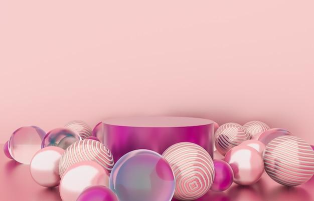Lege cilinderdoos met de achtergrond van kerstmisballen. luxe cosmetische productweergave. 3d render.