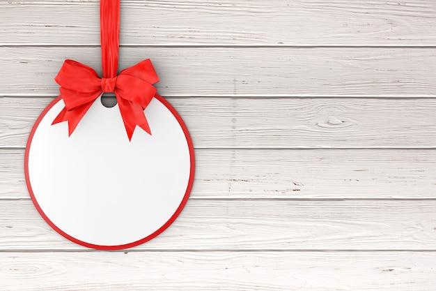 Lege cirkel sale tag met rood lint en strik op een houten tafel. 3d-rendering