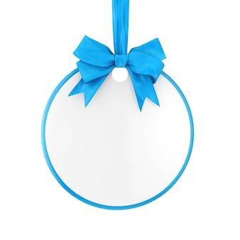 Lege cirkel verkoop tag met blauw lint en boog op een witte achtergrond. 3d-rendering