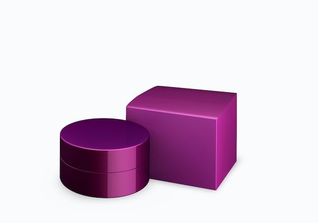 Lege diep lila parelmoer cosmetische pot mock up op witte achtergrond met uitstrijkje crème in vooraanzicht hoek, 3d illustratie