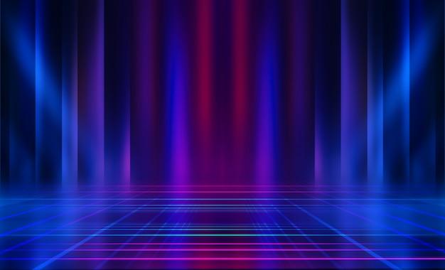 Lege donkere abstracte achtergrond. achtergrond van lege show scene. gloed van neonlichten en neonfiguren op een leeg concertpodium. reflectie van licht op de stoep.