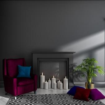 Lege donkere kamer met zwarte muur, open haard, kaarsen, fauteuil, kussens, tapijt en plant. scandinavisch interieur. . 3d render illustratie.
