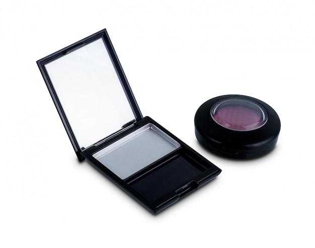 Lege doos kosmetisch paletgebruik voor het gebruik van het nieuwe vullings nieuwe product dat op wit wordt geïsoleerd