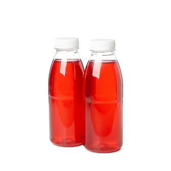 Lege fles met sap geïsoleerd op een witte achtergrond. voedsellevering