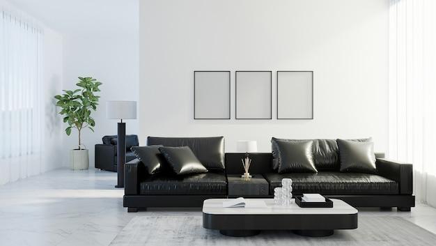 Lege frames bespotten in modern woonkamerinterieur met zwarte leren bank, witte lege muur, scandinavische stijl, 3d-rendering