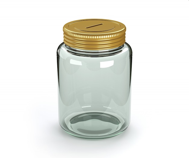 Lege geïsoleerde glazen spaarpot.