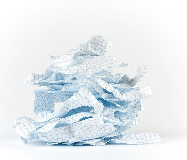 Lege gescheurde stukjes papier van notebook naar cel
