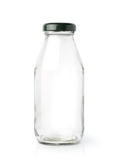 Lege glazen fles geïsoleerd op een witte ondergrond