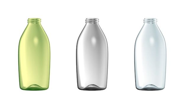 Lege glazen fles set geïsoleerde transparante vloeistof container kleur mockup geopend pack reclame
