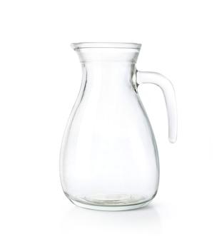 Lege glazen kruik geïsoleerd op een witte achtergrond. uitknippad.