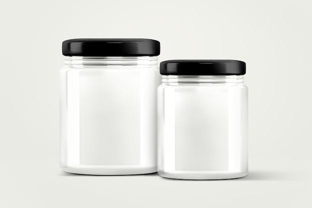 Lege glazen potten, voedselverpakkingen met ontwerpruimte