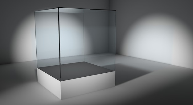 Lege glazen vitrine