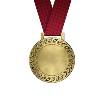 Lege gouden medaille die op wit wordt geïsoleerd. 3d render