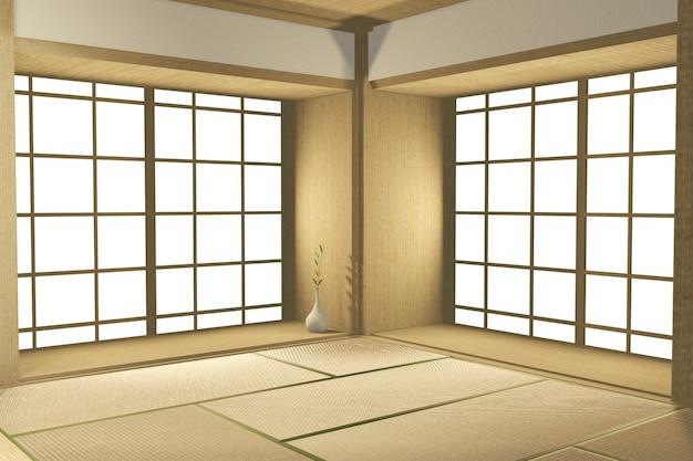 Lege grote kamer japanse tropische stijl. 3d-weergave