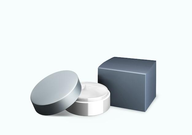 Lege heldere grijze cosmetische pot mock up op witte achtergrond met uitstrijkje crème in vooraanzicht hoek, 3d illustratie