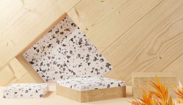 Lege houten en keramische staander met verlof 3d-rendering houten achtergrond