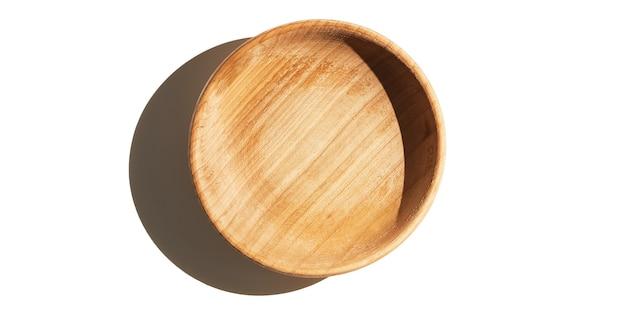Lege houten geweven kopkom die op witte achtergrond wordt geïsoleerd