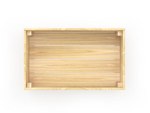 Lege houten kist bovenaanzicht