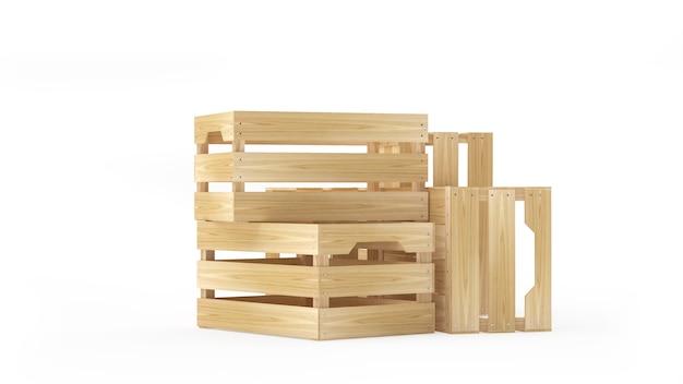 Lege houten kisten worden gestapeld en verspreid