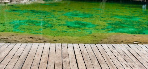 Lege houten met exemplaarruimte en groen water
