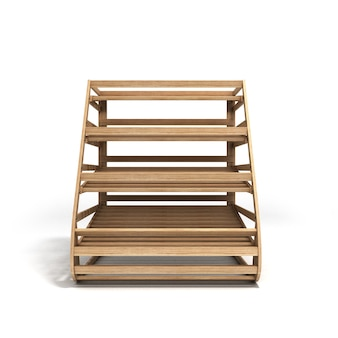 Lege houten planken voor brood 3d render op een witte achtergrond