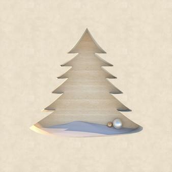 Lege houten podiumachtergrond met de decoratievorm van kerstmis Premium Foto