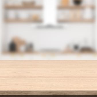 Lege houten tafel en wazig keuken achtergrond.