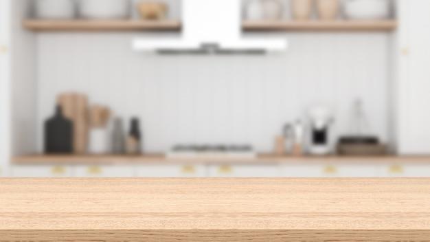 Lege houten tafel en wazig keuken versierd met keukengerei en keukenapparatuur