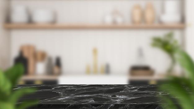 Lege houten tafel in de keuken