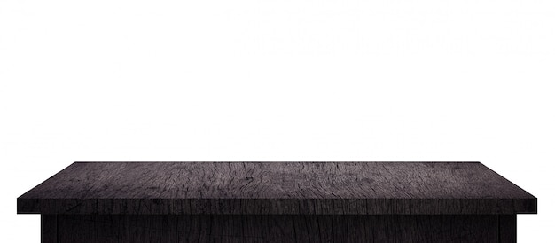 Lege houten tafel met zwart patroon geïsoleerd op puur wit