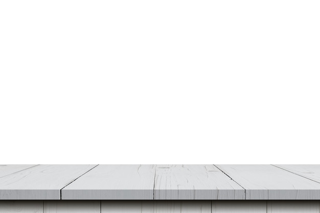 Lege houten tafel op isoleren witte achtergrond en weergave montage met kopie ruimte voor product.