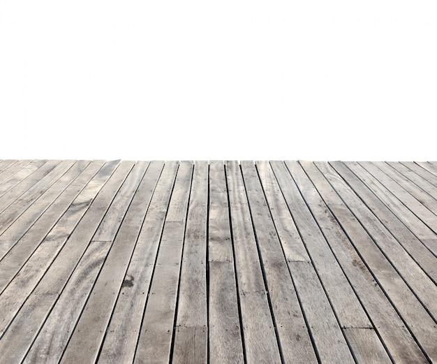 Lege houten vloer geïsoleerd op wit