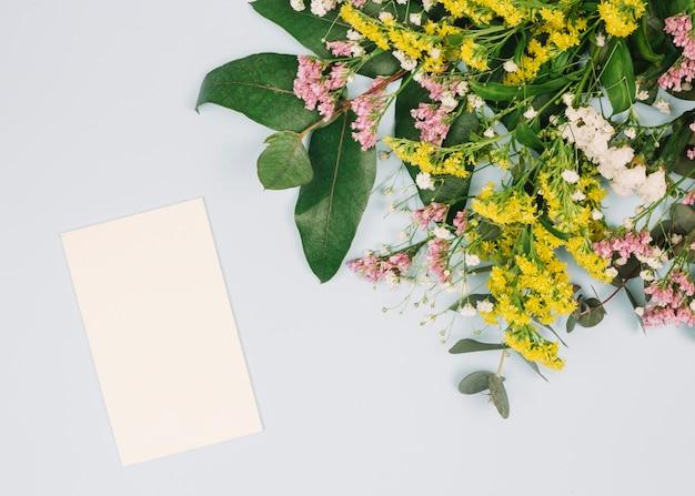 Lege kaart en limonium; gele guldenroede of solidago gigantea en gypsophila bloemen boeket op witte achtergrond
