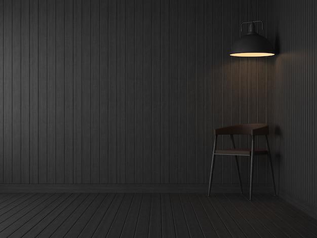 Lege kamer donkere kamer 3d renderer zijn zwarte houten plankenvloer en muur