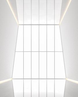 Lege kamer moderne witte ruimte interieur 3d render groot raam met uitzicht op de buitenkant