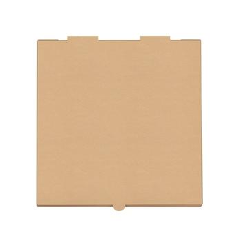 Lege kartonnen pizzadoos voor uw ontwerp op een witte achtergrond. 3d-rendering.